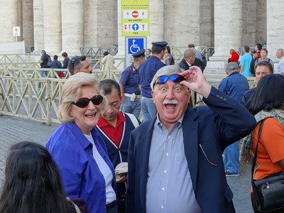 Rick hams it up on the first morning in Rome.