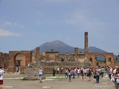 Pompeii's main piazza with Vesuvius in background
