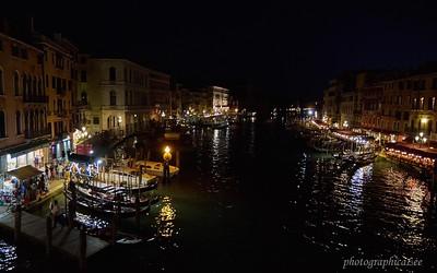 Rialto bridge area at night