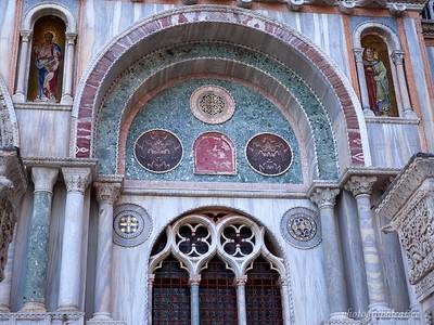 Marble exterior of Basilica San Marco