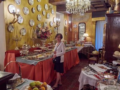 Breakfast spread at hotel in Verona