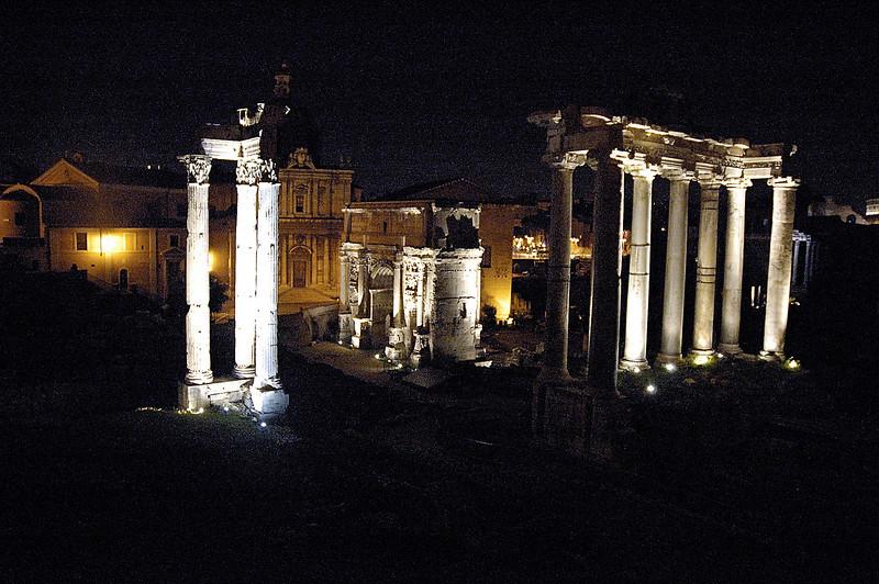 The Roman Forum at night