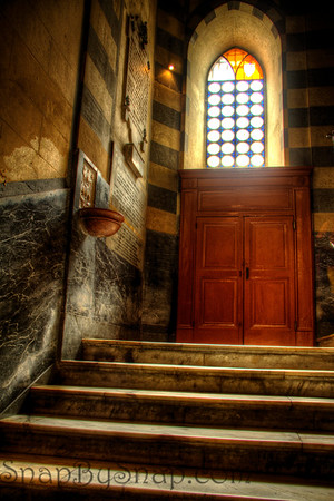 Aug 10, 2013, Duomo di Amalfi - the Cathedral of St. Andrew For some reason, every time I come to Italy, I find myself in Amalfi.  This is the stairs leading from the tomb of St. Andrew to the sanctuary.  The texture of the walls and the light coming through the window made for a good HDR candidate. OK, it was also one of the few places that I could take a photograph without a tourist in the way.