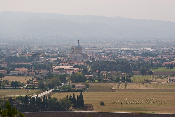 Santa Maria degli Angeli and the town of Assisi
