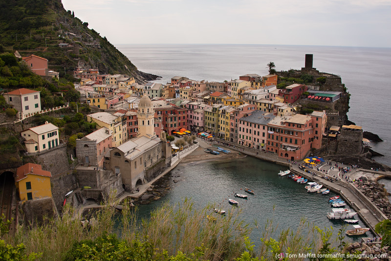 Vernazza, Italy. View from trail to Monterosso.