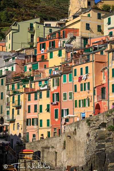 Late afternoon view of the houses of Riomaggiore