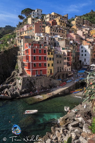 Mid afternoon view of the harbour of Riomaggiore