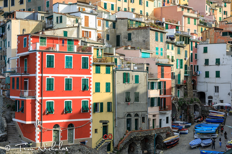 Sunrise on the harbour houses of Riomaggiore
