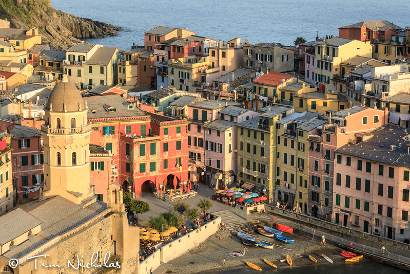 Sunset view of Vernazza harbour