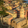 Late afternoon view of the church of Santa Margherita in Vernazza harbour