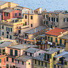 Sunset view of the rooftops of the houses of Vernazza