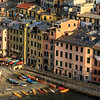 Late afternoon panorama of the harbour houses of Vernazza