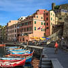 Late afternoon view of the harbour of Vernazza