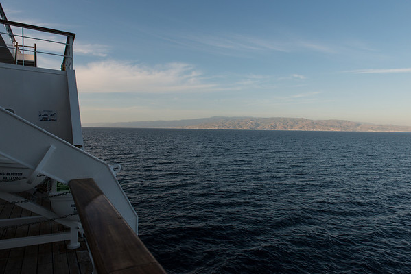 On board the Aegean Odyssey. In the Straits of Messina.
