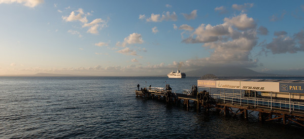 The Aegean Odyssey anchored off Sorrento. Mount Vesuvius in the background.