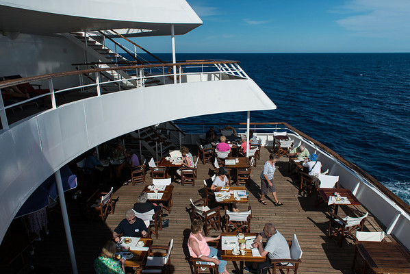 On board the Aegean Odyssey. Outdoor dining.