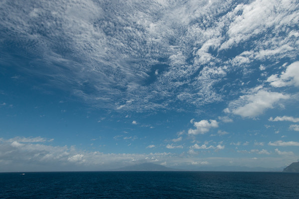 On board the Aegean Odyssey. Approaching Sorrento, Italy. Mount Vesuvius and the Bay of Naples in the background.