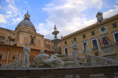 "The fountian in Piazza Pretoria, known in Palermo as ""Fontana della Vergogna"" (fountain of shame) in reference to the nudity of the statues."