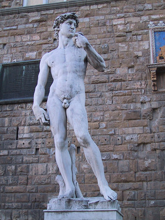 This is a replica of the actual David, which now stands in a museum.  This location is the original location of the sculpture.