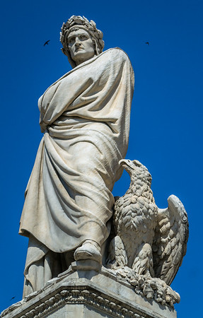 Statue of Dante Alighieri, a monument to Dante, more than life size
