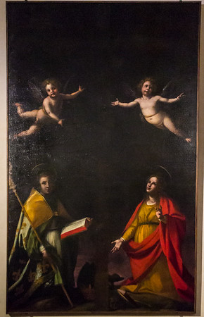 aints Ludovico of Tolosa and Agata with two angels on the sides of a cross
