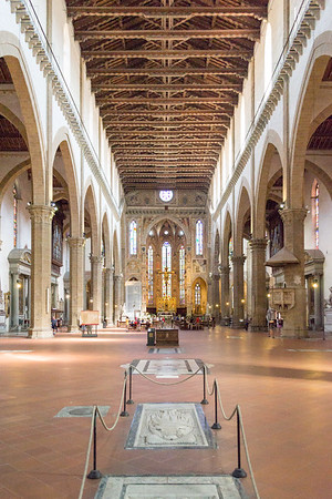 Nave, Apse and Crossing - Basilica di Santa Croce, Basilica of the Holy Cross, Florence, Italy