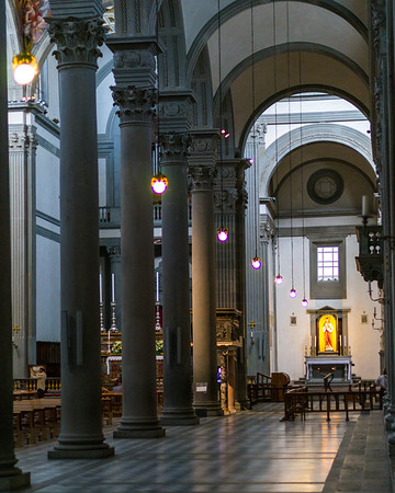 Looking down the side aisle to the chapel