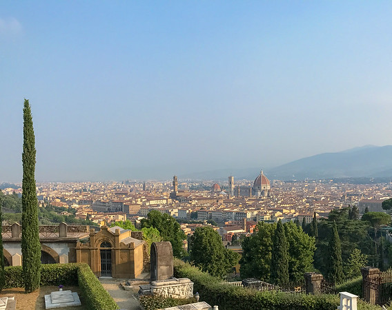From the Abbey of San Miniato al Monte, looking accross the Arno River at the Florence Cathedral.