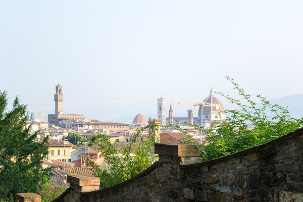 From Viale Galileo, looking over the Giardino delle rose Garden to the Duomo and Palazzo Vecchio.