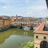 From the second floor of the Ufizi, looking west at the Ponte Vecchio over the Arno River
