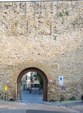 Looking north-west down Via San Miniato to the ancient city wall