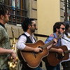 On Via Ricasoli accross from the Galleria dell'Accademia in Florence watching street musicians
