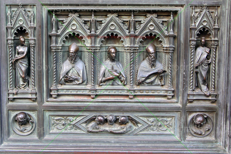 Detail view of the Main Portal of the Duomo by Augusto Passaglia