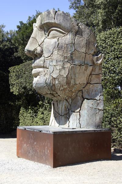 Modern Head Sculpture at the Boboli Gardens Florence July 2007