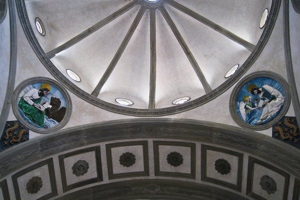 Enameled terracotta roundels in the Pazzi Chapel by Luca della Robbia