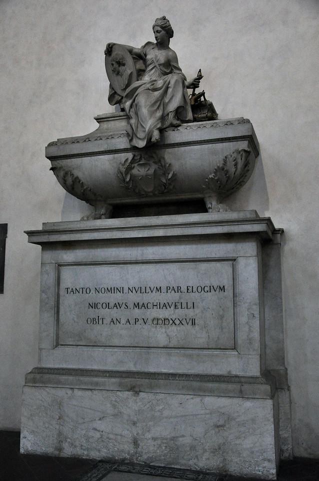 Tomb of Machiavelli. Inside the Basilica di Santa Croce.