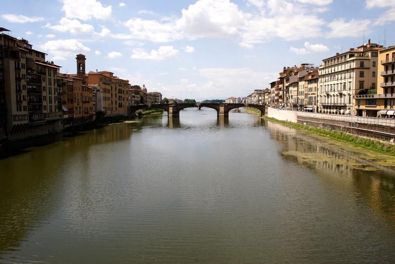 View along the River Arno towards Ponte Santa Trinita bridge Florence