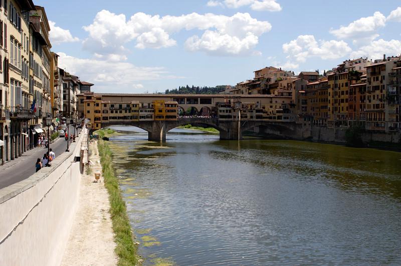 View along River Arno Florence towards Ponte Vecchio