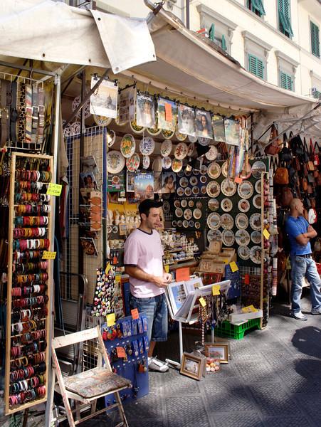 Souvenir stall at San Lorenzo street market Florence