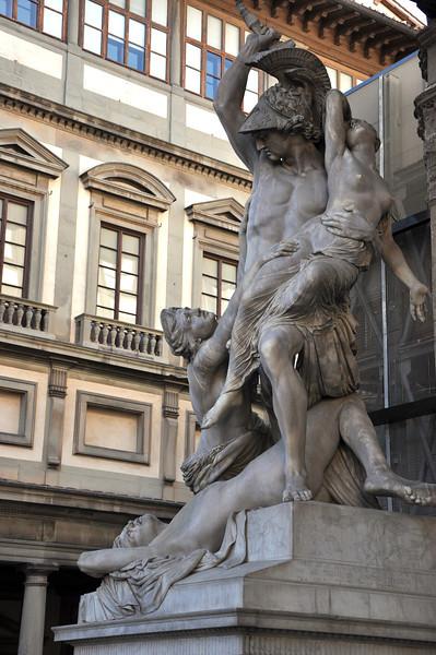 """""""The Rape of Polyxena"""", by Fedi (1865). In the Loggia dei Lanzi, within the Piazza della Signoria."""