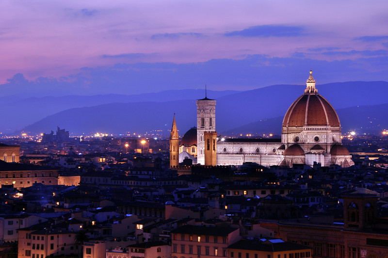Basilica di Santa Maria del Fiore and its Duomo, as seen from Piazzale Michelangelo. Dusk.
