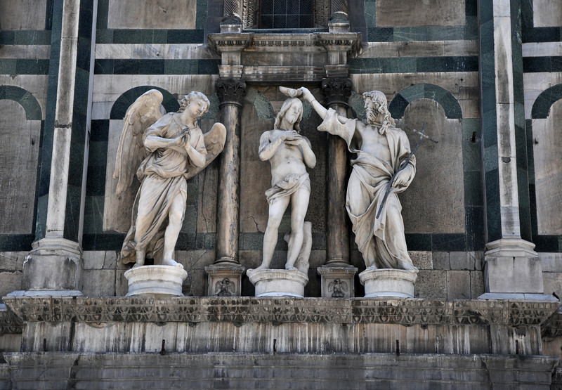 Florence Baptistery (Battistero di San Giovanni). Statues above the Gates of Paradise.