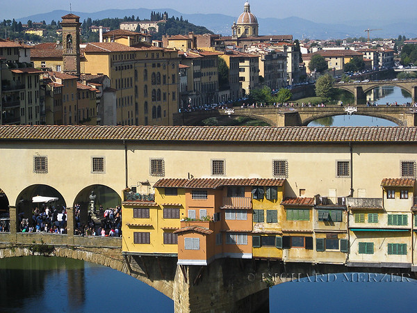 The Ponte Vecchio as viewed from the Uffizi Gallery