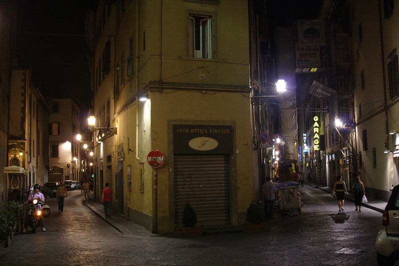 Street life Florence at night July 2007