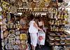 Porcelain Stall at San Lorenzo street market Florence July 2007