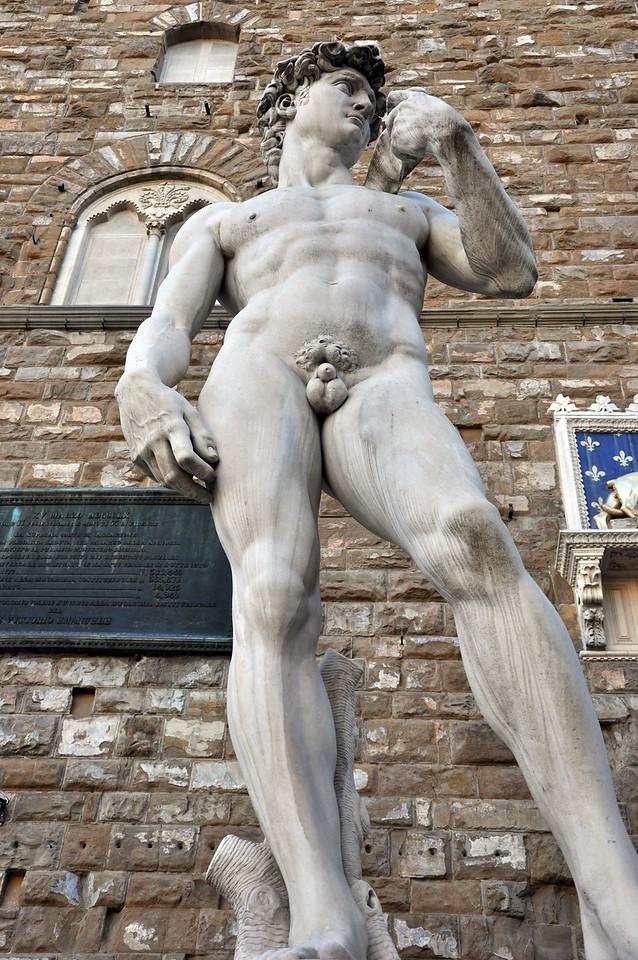 A copy of Michelangelo's David. At the entrance of the Palazzo Vecchio, in the Piazza della Signoria.