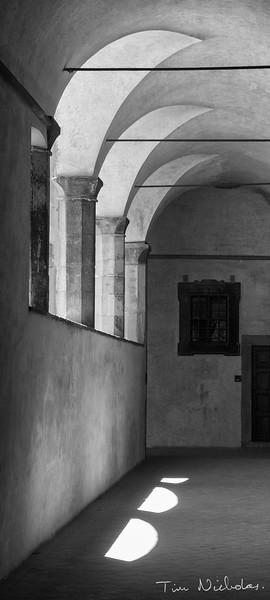 Basilica di San Lorenzo courtyard walls black and white