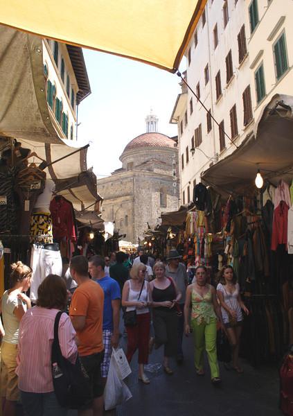 Street market Florence Church of San Lorenzo in background July 2007