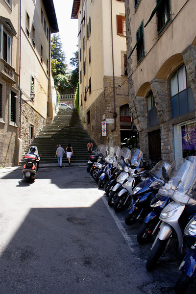 Alleyway in Florence and motorbike July 2007
