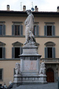 "Statue of Dante Alighieri. The author of ""Divine Comedy"" and often referred to as ""The Father of the Italian Language""."